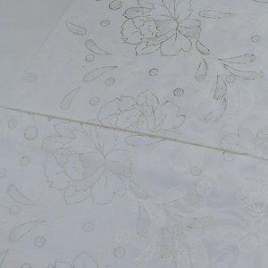 پارچه چادر سفید طرح ابریشمی ژاپن گلدار
