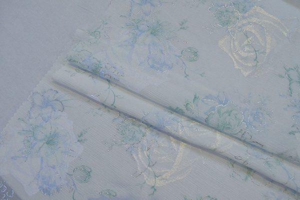 پارچه چادر عروس ساتن چروک طرح گل