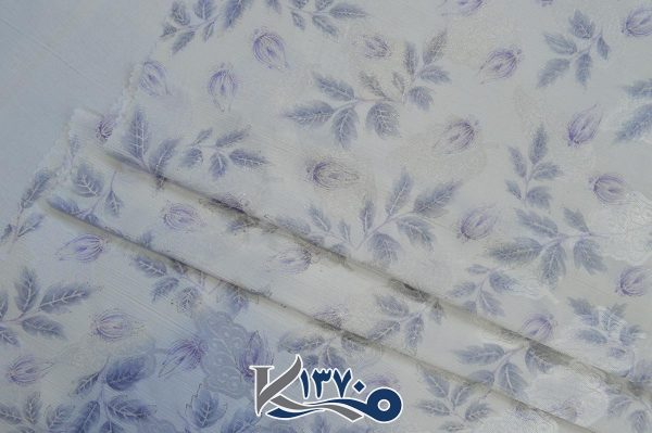پارچه چادر سفید طرح ابریشمی ژاپن طرح برگ