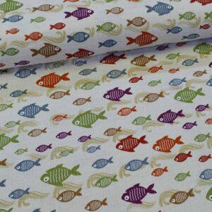 پارچه دستمال پنبه ای طرح ماهی