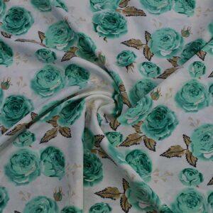 پارچه سوپر سافت گل رز 1(سبز)